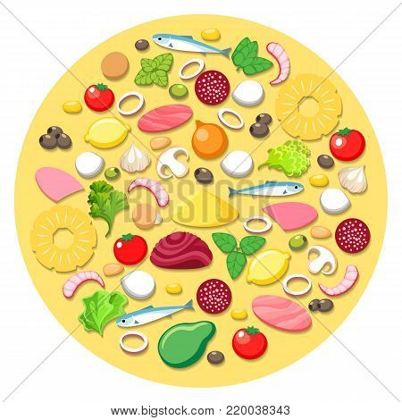 Pizza cooking ingredients. Vector pizza food elements round emblem with vegetables and tomato, pineapple and onion, ham portions on white background