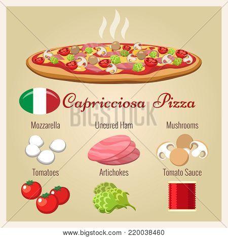 Pizza capricciosa. Italian cuisine pizza prepared with mozzarella cheese and italian baked ham, mushroom, artichoke and tomato, vector illustration