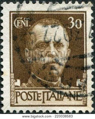 ITALY - CIRCA 1929: A stamp printed in Italy, shows the King of Italy Victor Emmanuel III, circa 1929