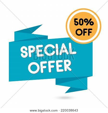 50% OFF Sale Discount Banner. Discount offer price tag. Special offer sale red label. Vector Modern Sticker Illustration. Special Offer, Big Offer & Best Price Mark.