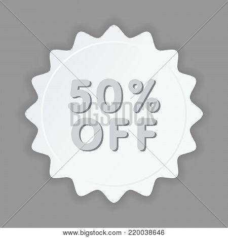 50% OFF Sale Discount Banner. Discount offer price tag. Special offer sale paper label. Vector Modern Sticker Illustration. Special Offer, Big Offer & Best Price Mark.