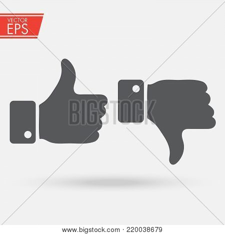 Like and dislake Icon in trendy flat style isolated on grey background. Like symbol for your web site design, logo, app, UI. Vector illustration, EPS10. Finger up sign. I like it symbol.