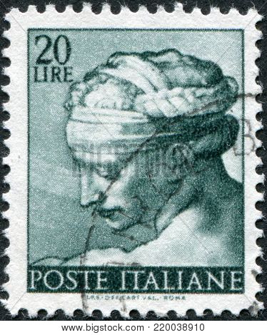 ITALY - CIRCA 1961: A stamp printed in Italy, shows Designs from Sistine Chapel by Michelangelo, Libyan Sybil, circa 1961