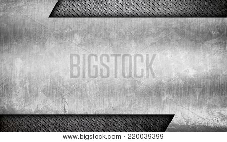 grunge metal template with diamond plate background
