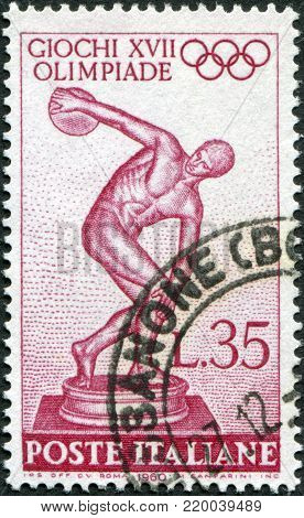 ITALY - CIRCA 1960: A stamp printed in Italy, devoted to 17th Olympic Games, Rome, depicts Myron's Discobolus, circa 1960