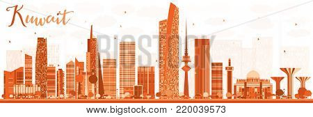 Abstract Kuwait City Skyline with Color Buildings. Business Travel and Tourism Concept with Modern Buildings. Kuwait Cityscape with Landmarks.
