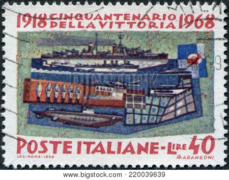 ITALY - CIRCA 1968: A stamp printed in Italy, is dedicated to the 50th anniversary of victory in World War I, is depicted Battleship Andrea Doria, Destroyer Zeffiro, Motor torpedo boat MAS 15, Sea tank Grillo, Submarine Pullino, circa 1968