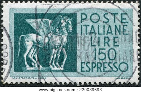ITALY - CIRCA 1968: A stamp printed in Italy, depicts a flying horse from Tarquinia, Etruria, circa 1968