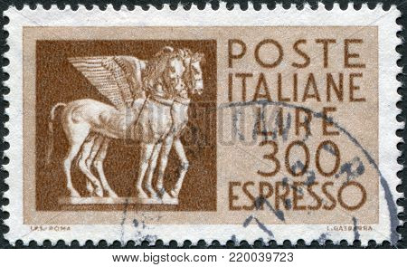 ITALY - CIRCA 1976: A stamp printed in Italy, depicts a flying horse from Tarquinia, Etruria, circa 1976