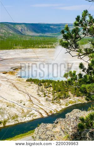 Excelsior Geyser Yellowstone Park aerial view Wyoming