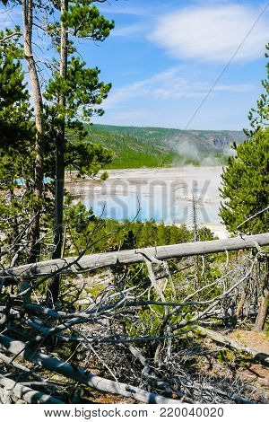 Excelsior Geyser Yellowstone Park view from the mountain Wyoming