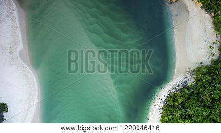 Aerial view over Tallebudgera Creek and beach, Gold Coast