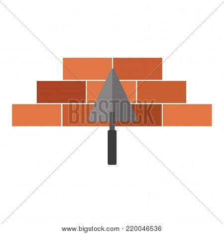 Vector line icons brickwork and building trowel