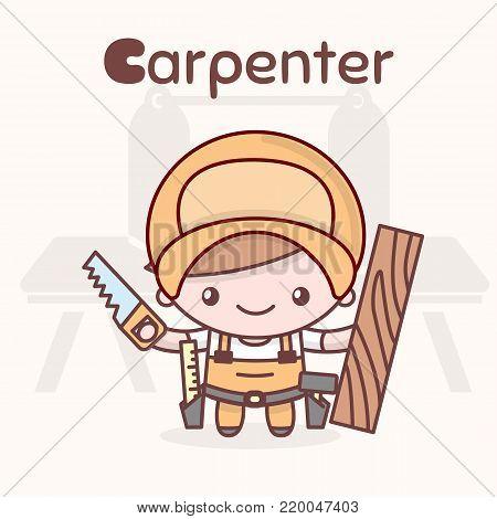 Cute chibi kawaii characters. Alphabet professions. The Letter C - Carpenter. Flat cartoon style