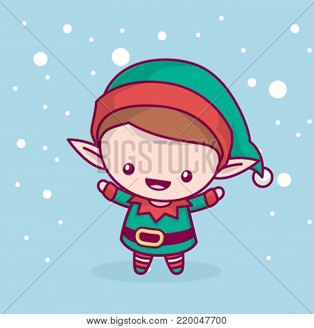 Lovely cute kawaii chibi. elf rejoices under the snow. Merry christmas and a happy new year