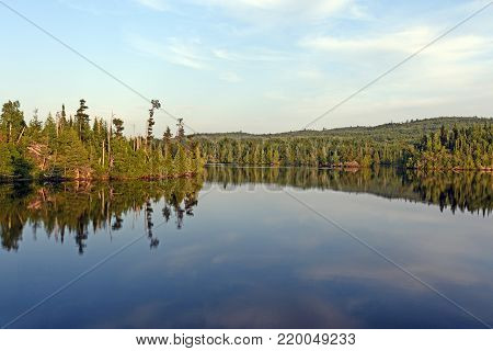 Evening Panorama in the North Woods on Ogishkemuncie Lake in the Boundary Waters in Minnesota