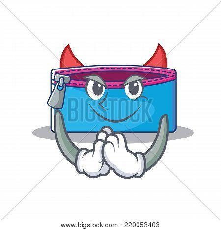 Devil pencil case character cartoon vector illustration
