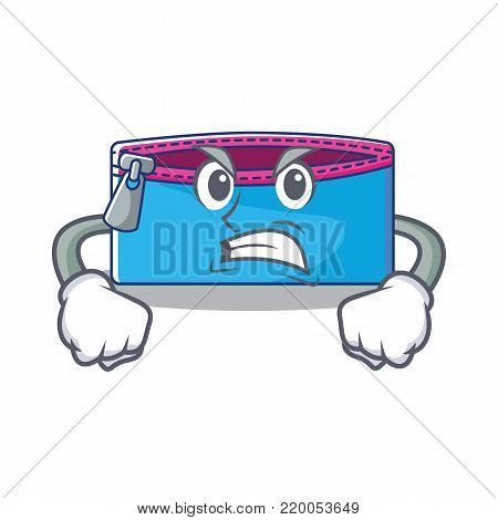 Angry pencil case character cartoon vector illustration