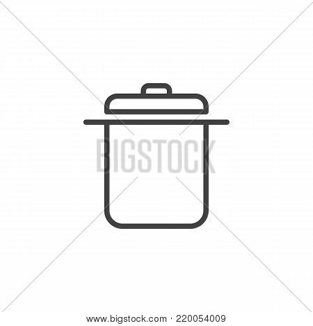 Saucepan line icon, outline vector sign, linear style pictogram isolated on white. Casserole symbol, logo illustration. Editable stroke