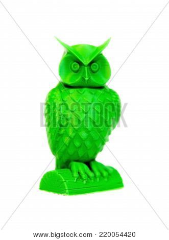 Abstract object of green color printed by 3d printer isolated on white background. Fused deposition modeling, FDM. Progressive modern additive technology. Concept of 4.0 industrial revolution