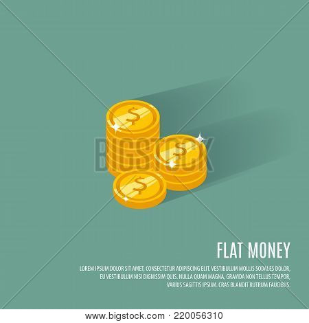 Coins vector illustration. Coins icon in a flat style. Stack of coins on a colored background. Gold coins flat vector sign. Coins isolated. Coins dollar. Coins concept icon. Coin with a pile money.