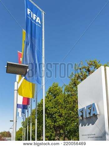 Zurich, Switzerland - April 2017: at the entrance to FIFA premises