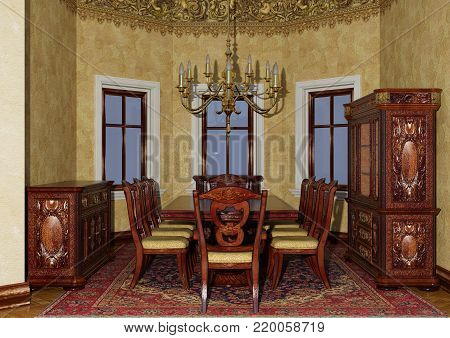 3D rendering of a Victorian dining room interior