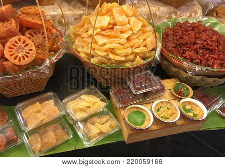 Various Kinds of Thai-Style Dried Sweetened Fruits
