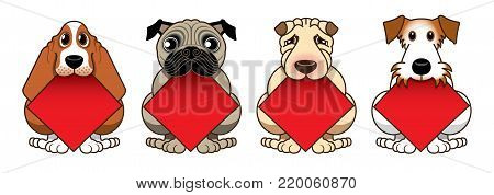 Four cute doggies have a blank diamond shape spring festival couplets in their mouth. Isolated image specially designed for Chinese New Year.