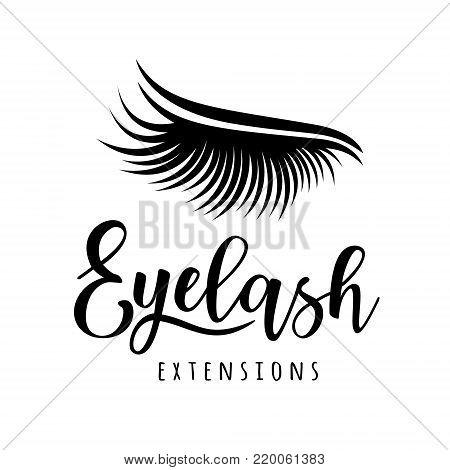 Eyelash extension logo. Vector illustration of lashes. For beauty salon, lash extensions maker.