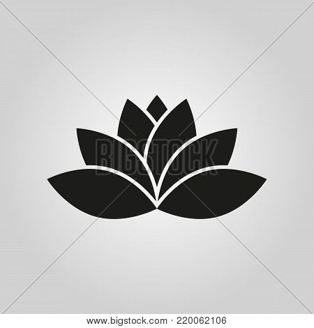 Lotus icon. Lily and flower, lifestyle symbol. Flat design. Stock - Vector illustration