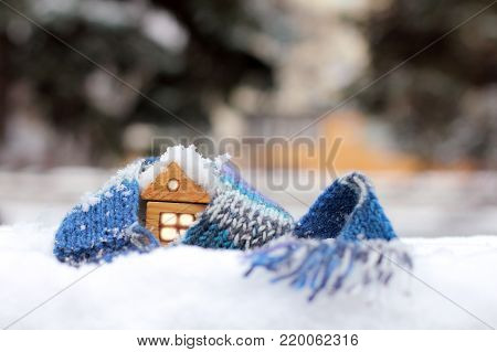 wooden house in the winter scarf / home atmosphere warming cold winters