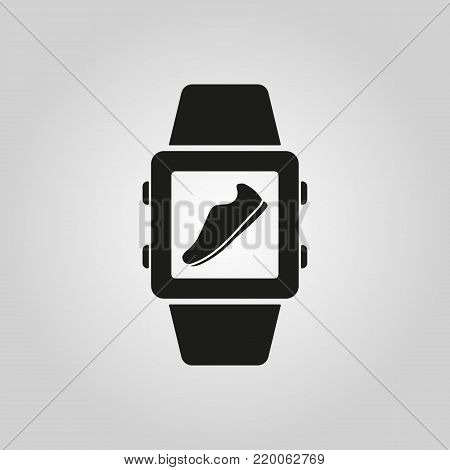 Pedometer icon. Smart watch, clock, fitness bracelet symbol. Flat design. Stock - Vector illustration