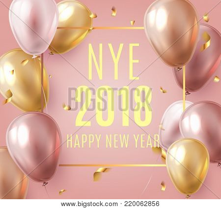 Vector stock elegant pink balloon party happy new year celebration festival background. NYE 2018 confetti greeting background with helium shine gold and pink balloon. Rich, VIP, luxury.