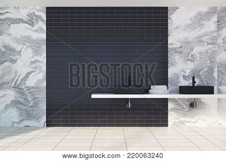 Gray Marble And Brick Bathroom, Black Sink