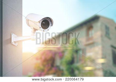 Cctv Camera, Blurred Town