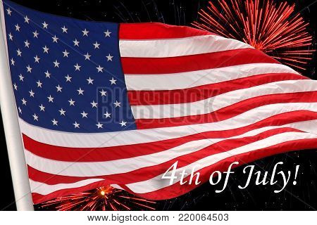United States flag. Fireworks background for USA Independence Day. Fourth of July celebrate. Independence Day fireworks and flag. USA flag and fireworks. 4th of July background with flag and fireworks