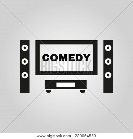 Comedy movie icon. TV and Home theater, cinema symbol. Flat design. Stock - Vector illustration