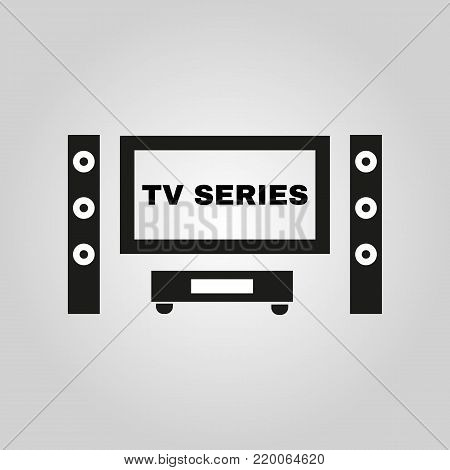 TV series icon. TV and Home theater, cinema symbol. Flat design. Stock - Vector illustration
