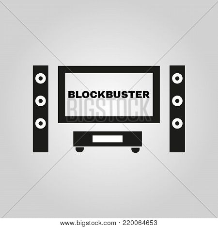 Blockbuster movie icon. TV and Home theater, cinema symbol. Flat design. Stock - Vector illustration