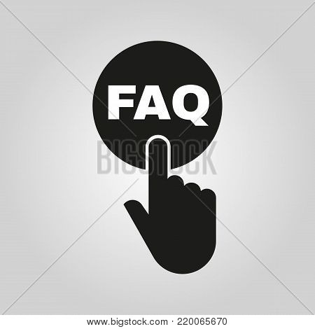 Hand pressing a button with the text FAQ icon. Support, assistance, maintenance symbol. Flat design. Stock - Vector illustration