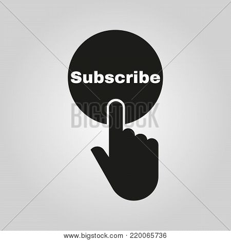 Hand pressing a button with the text SUBSCRIBE icon. Sign symbol. Flat design. Stock - Vector illustration