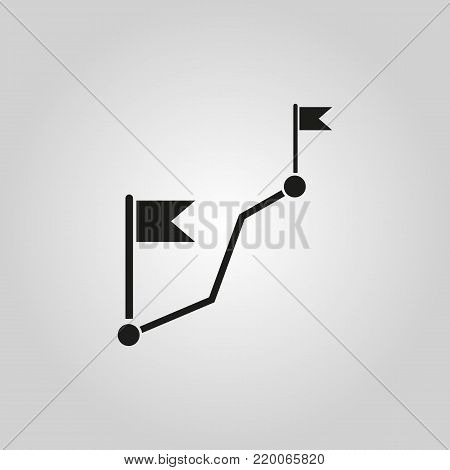 Route icon. Way, road, path, track symbol. Flat design. Stock - Vector illustration
