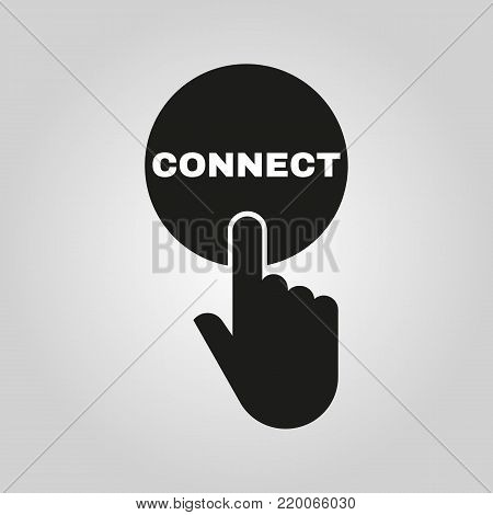 Hand pressing a button with the text CONNECT icon. Communication, cooperation, partnership symbol. Flat design. Stock - Vector illustration