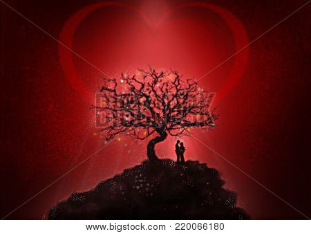 Romantic encounter. A man and a woman embrace under a tree illuminated by the rays of light.