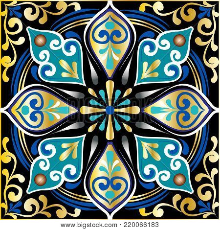 Drawing of a floral mandala in gold, blue and turquoise colors on a black background. Hand drawn tribal vector stock illustration