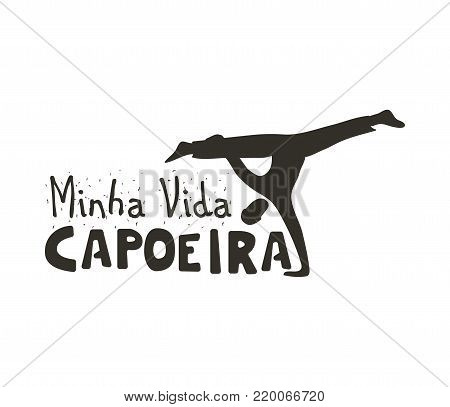 Capoeira music logo. Traditional rhythm, style of play, and drum tune energy of a brazil game with instruments, clapping, and singing. Vector flat style black and white illustration