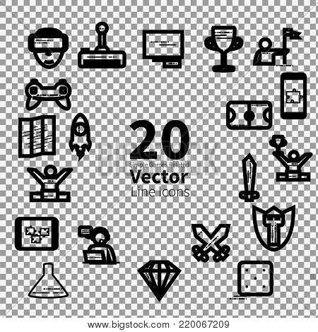 20 Simple Games Related Vector Line Icons on transparent background. - stock vector
