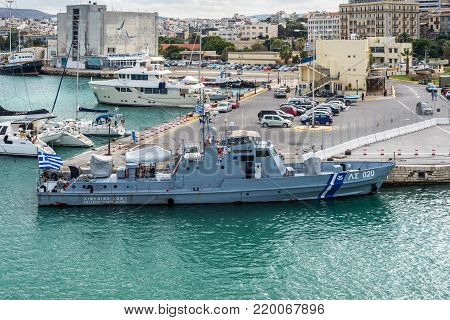 Heraklion, Greece - November 2, 2017: Hellenic coast guard ship, docked at the port of Heraklion, Crete island, Greece.