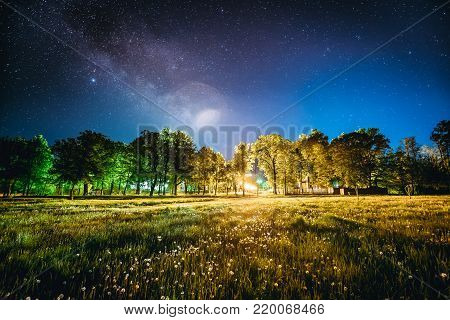 Green Trees Woods In Park Under Night Starry Sky. Night Landscape With Natural Real Glowing  Milky Way  Stars Over Meadow At Summer Season. View From Eastern Europe At Spring Season.
